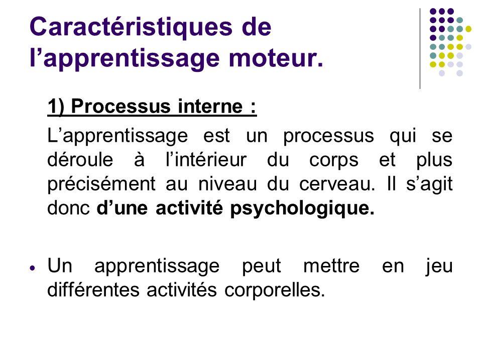Caractéristiques de lapprentissage moteur. 1) Processus interne : Lapprentissage est un processus qui se déroule à lintérieur du corps et plus précisé