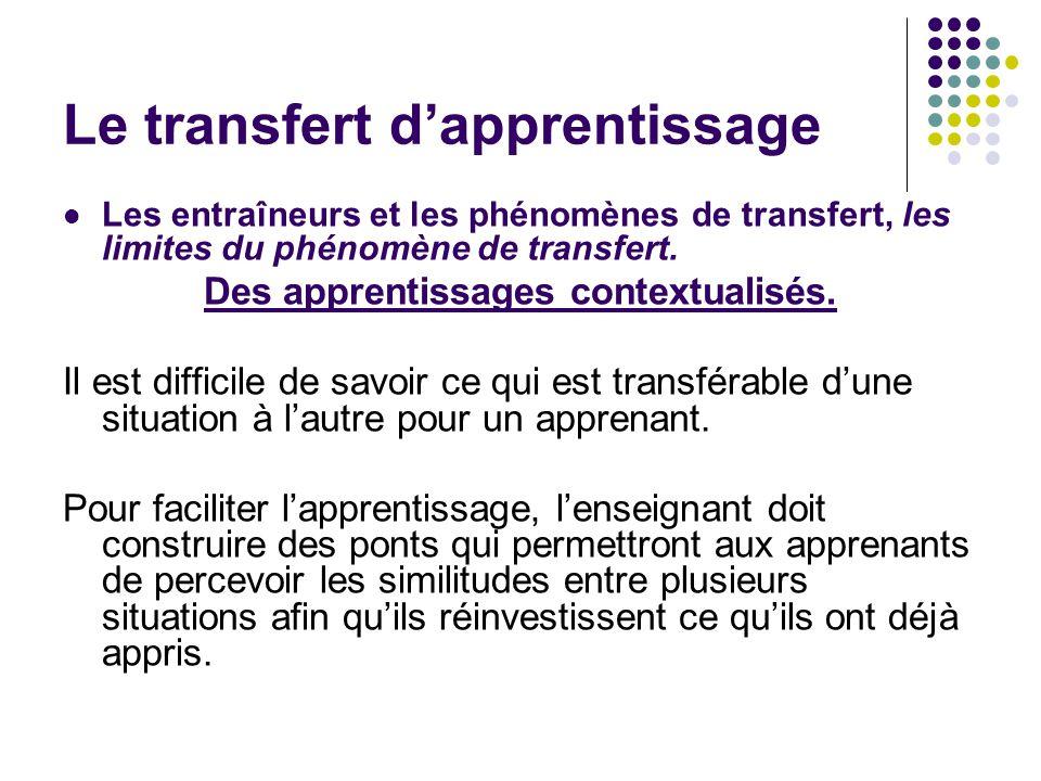 Les entraîneurs et les phénomènes de transfert, les limites du phénomène de transfert. Des apprentissages contextualisés. Il est difficile de savoir c