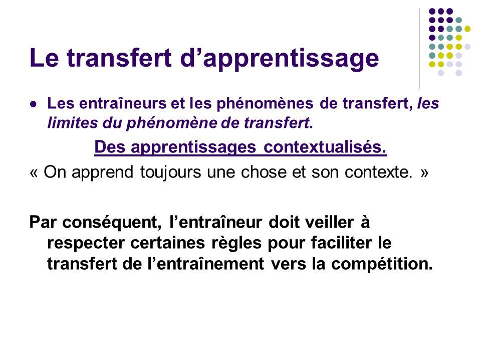 Les entraîneurs et les phénomènes de transfert, les limites du phénomène de transfert. Des apprentissages contextualisés. « On apprend toujours une ch