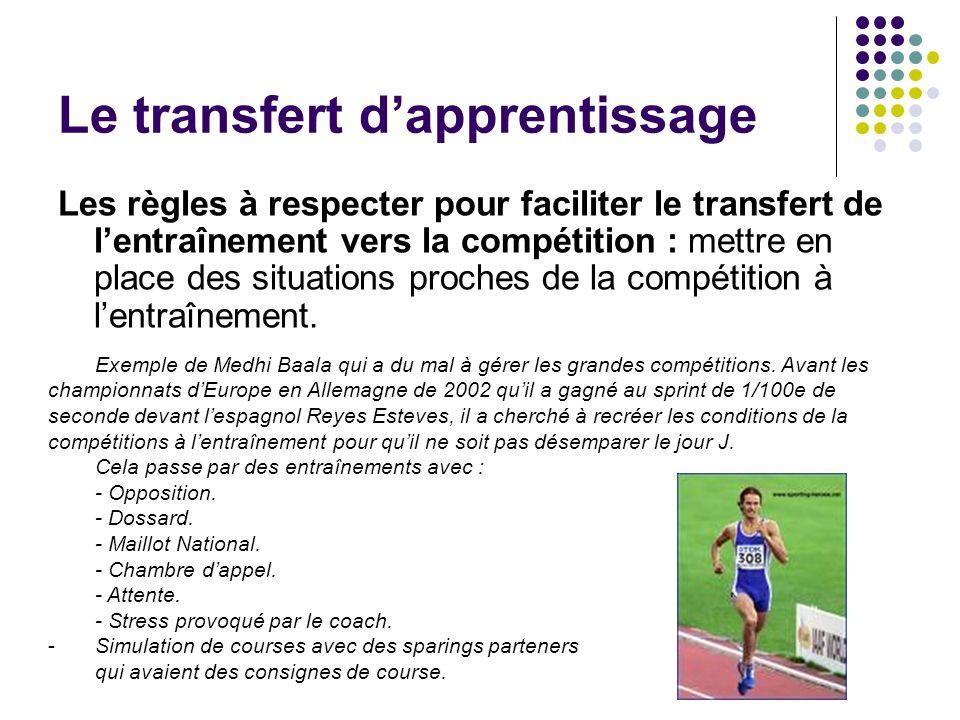 Les règles à respecter pour faciliter le transfert de lentraînement vers la compétition : mettre en place des situations proches de la compétition à l