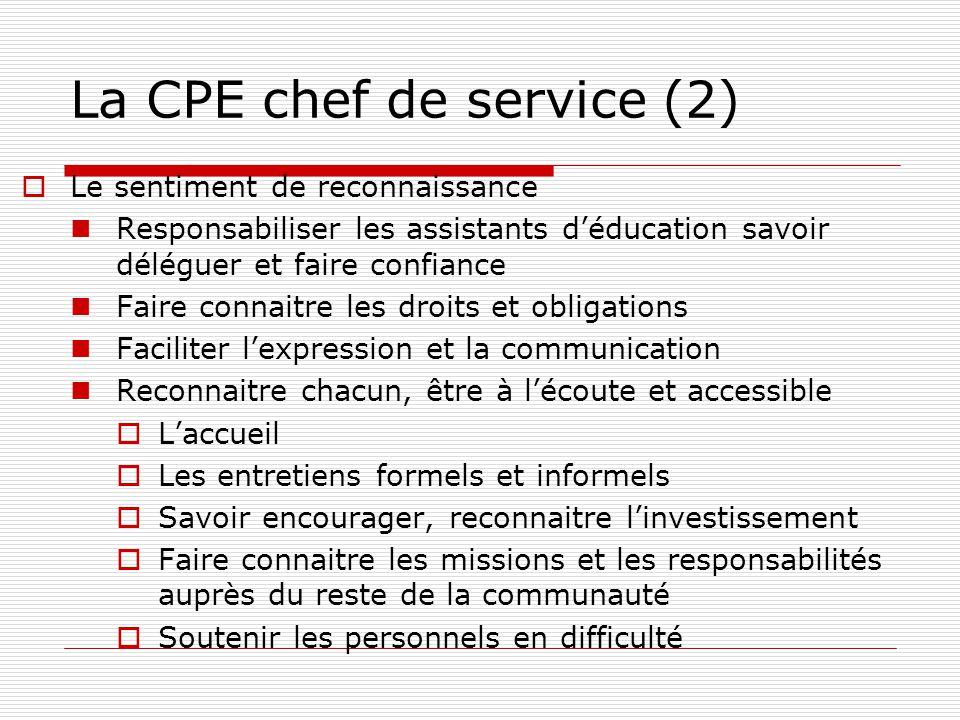 La CPE chef de service (2) Le sentiment de reconnaissance Responsabiliser les assistants déducation savoir déléguer et faire confiance Faire connaitre