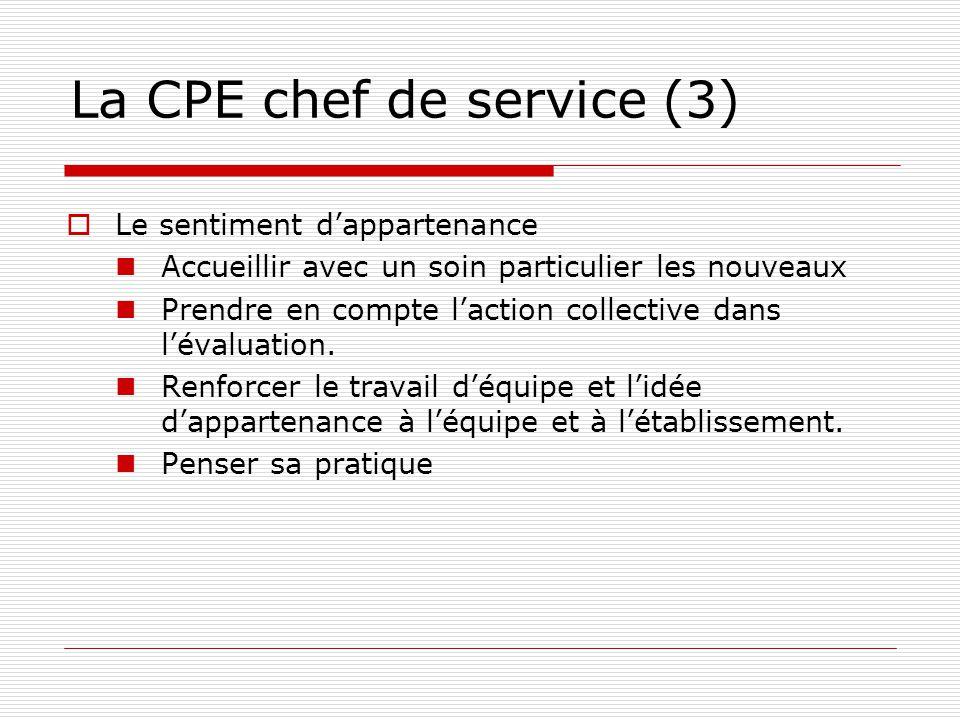 La CPE chef de service (3) Le sentiment dappartenance Accueillir avec un soin particulier les nouveaux Prendre en compte laction collective dans lévaluation.