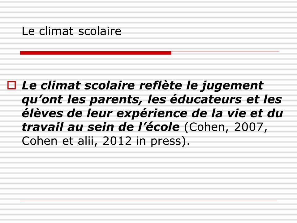 Le climat scolaire Le climat scolaire reflète le jugement quont les parents, les éducateurs et les élèves de leur expérience de la vie et du travail au sein de lécole (Cohen, 2007, Cohen et alii, 2012 in press).