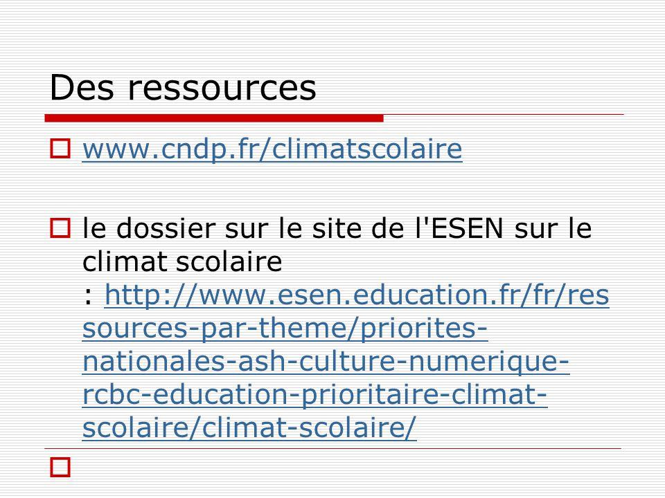 Des ressources www.cndp.fr/climatscolaire le dossier sur le site de l ESEN sur le climat scolaire : http://www.esen.education.fr/fr/res sources-par-theme/priorites- nationales-ash-culture-numerique- rcbc-education-prioritaire-climat- scolaire/climat-scolaire/http://www.esen.education.fr/fr/res sources-par-theme/priorites- nationales-ash-culture-numerique- rcbc-education-prioritaire-climat- scolaire/climat-scolaire/