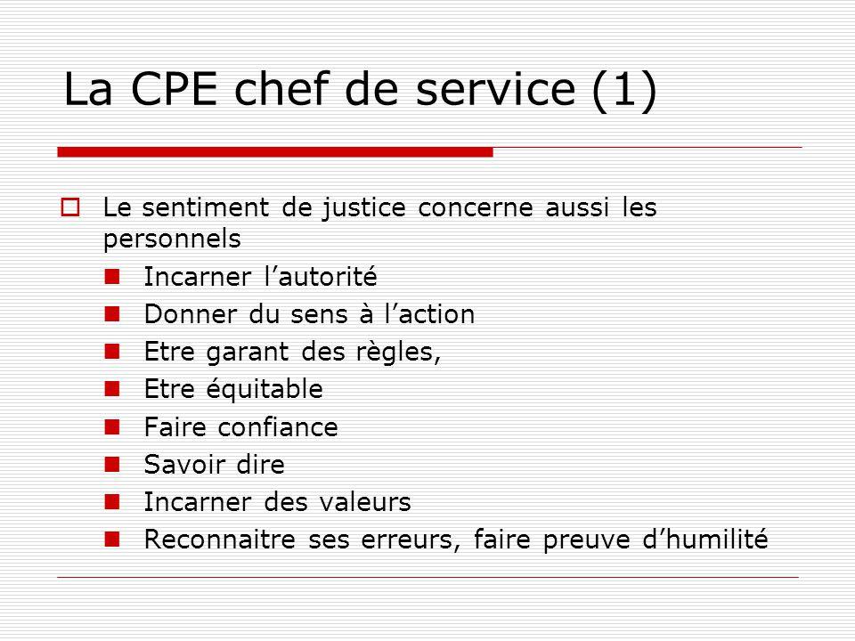 La CPE chef de service (1) Le sentiment de justice concerne aussi les personnels Incarner lautorité Donner du sens à laction Etre garant des règles, E