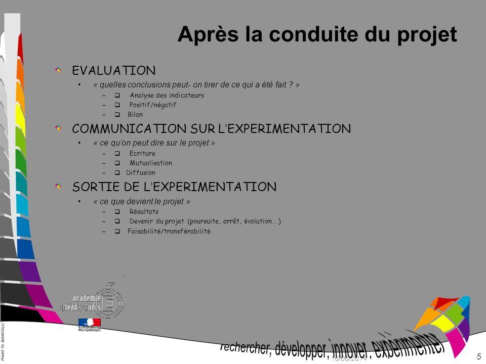 Après la conduite du projet EVALUATION « quelles conclusions peut- on tirer de ce qui a été fait ? » – Analyse des indicateurs – Positif/n é gatif – B