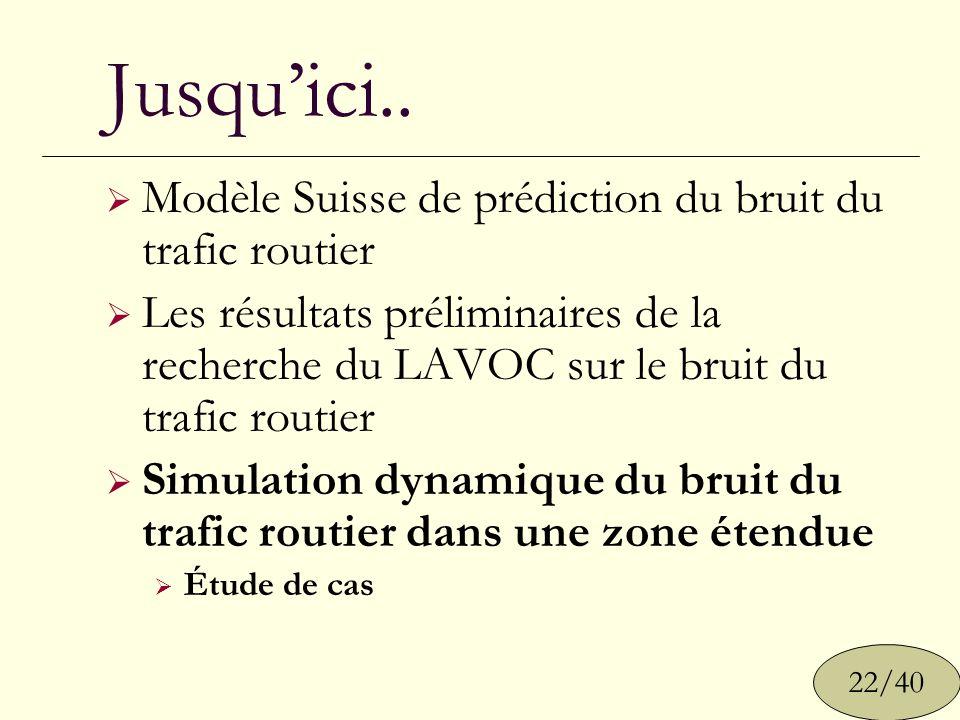 Jusquici.. 22/40 Modèle Suisse de prédiction du bruit du trafic routier Les résultats préliminaires de la recherche du LAVOC sur le bruit du trafic ro