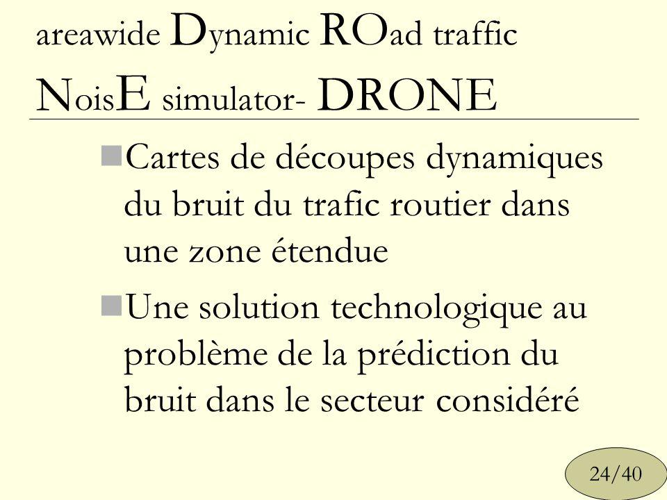 areawide D ynamic RO ad traffic N ois E simulator- DRONE Cartes de découpes dynamiques du bruit du trafic routier dans une zone étendue Une solution t