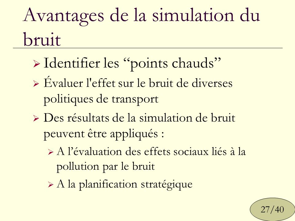 Avantages de la simulation du bruit Identifier les points chauds Évaluer l'effet sur le bruit de diverses politiques de transport Des résultats de la
