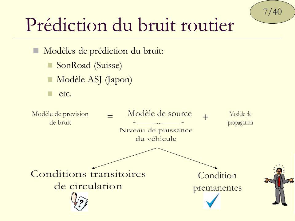 Prédiction du bruit routier Modèles de prédiction du bruit: SonRoad (Suisse) Modèle ASJ (Japon) etc. 7/40