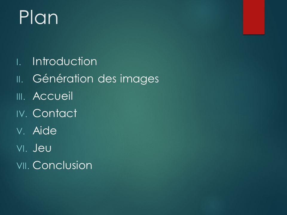 Plan I. Introduction II. Génération des images III.