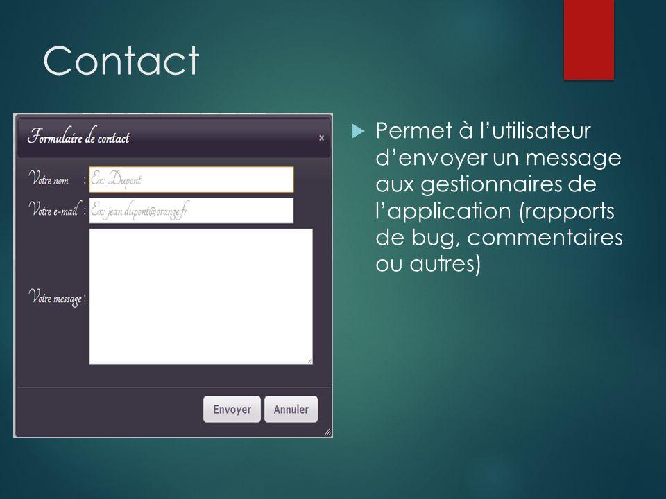Contact Permet à lutilisateur denvoyer un message aux gestionnaires de lapplication (rapports de bug, commentaires ou autres)