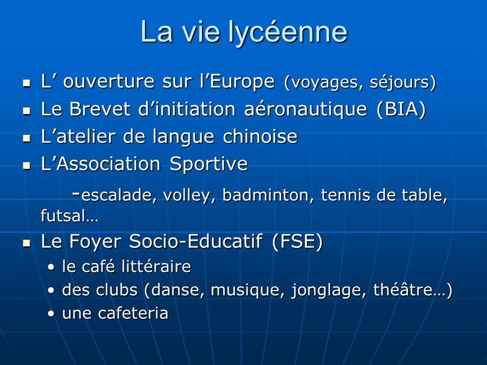 La vie lycéenne L ouverture sur lEurope (voyages, séjours) L ouverture sur lEurope (voyages, séjours) Le Brevet dinitiation aéronautique (BIA) Le Brev