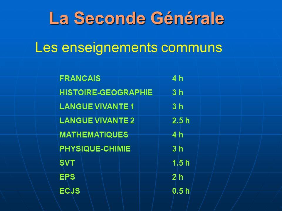 La Seconde Générale Les enseignements communs FRANCAIS4 h HISTOIRE-GEOGRAPHIE3 h LANGUE VIVANTE 13 h LANGUE VIVANTE 22.5 h MATHEMATIQUES4 h PHYSIQUE-C