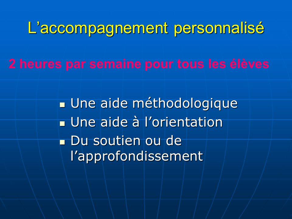 Laccompagnement personnalisé Une aide méthodologique Une aide méthodologique Une aide à lorientation Une aide à lorientation Du soutien ou de lapprofo