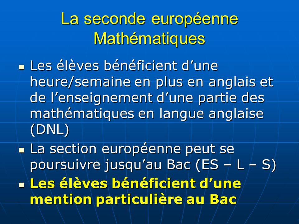 La seconde européenne Mathématiques Les élèves bénéficient dune heure/semaine en plus en anglais et de lenseignement dune partie des mathématiques en