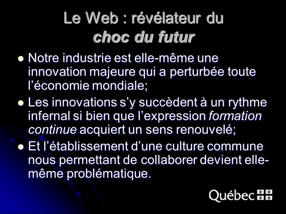 Le Web : révélateur du choc du futur Notre industrie est elle-même une innovation majeure qui a perturbée toute léconomie mondiale; Notre industrie est elle-même une innovation majeure qui a perturbée toute léconomie mondiale; Les innovations sy succèdent à un rythme infernal si bien que lexpression formation continue acquiert un sens renouvelé; Les innovations sy succèdent à un rythme infernal si bien que lexpression formation continue acquiert un sens renouvelé; Et létablissement dune culture commune nous permettant de collaborer devient elle- même problématique.
