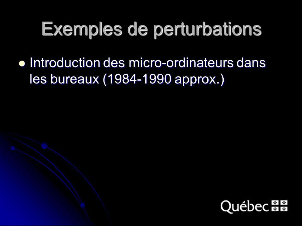 Exemples de perturbations Introduction des micro-ordinateurs dans les bureaux (1984-1990 approx.) Introduction des micro-ordinateurs dans les bureaux (1984-1990 approx.)