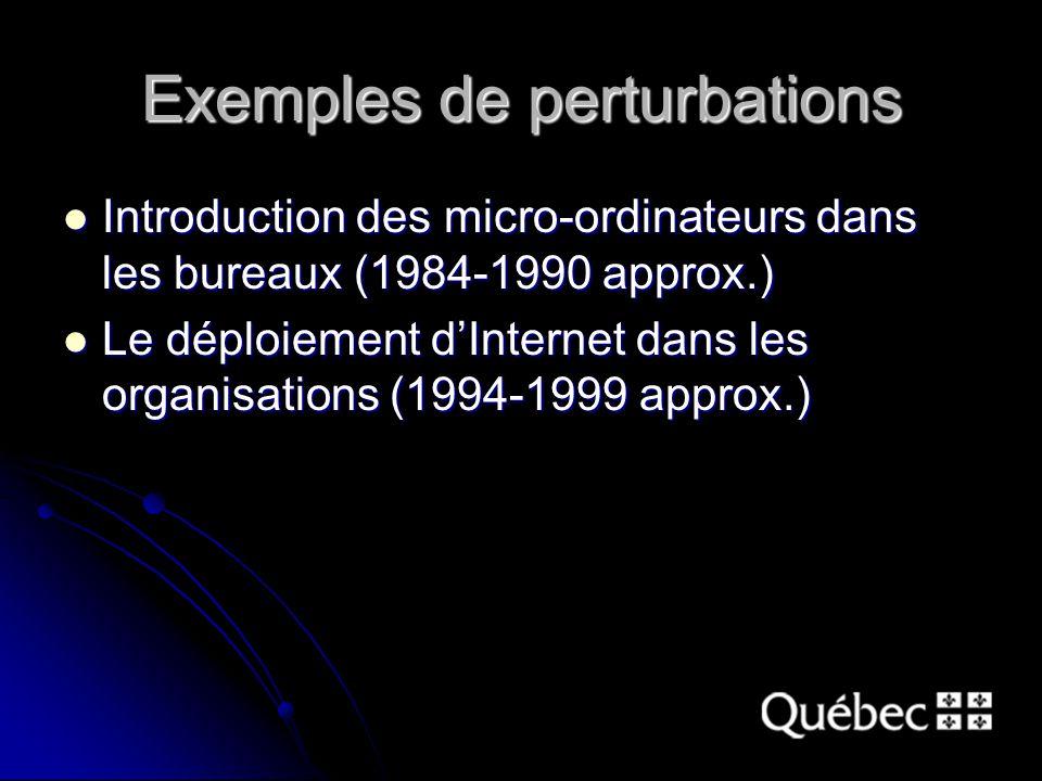 Exemples de perturbations Introduction des micro-ordinateurs dans les bureaux (1984-1990 approx.) Introduction des micro-ordinateurs dans les bureaux (1984-1990 approx.) Le déploiement dInternet dans les organisations (1994-1999 approx.) Le déploiement dInternet dans les organisations (1994-1999 approx.)