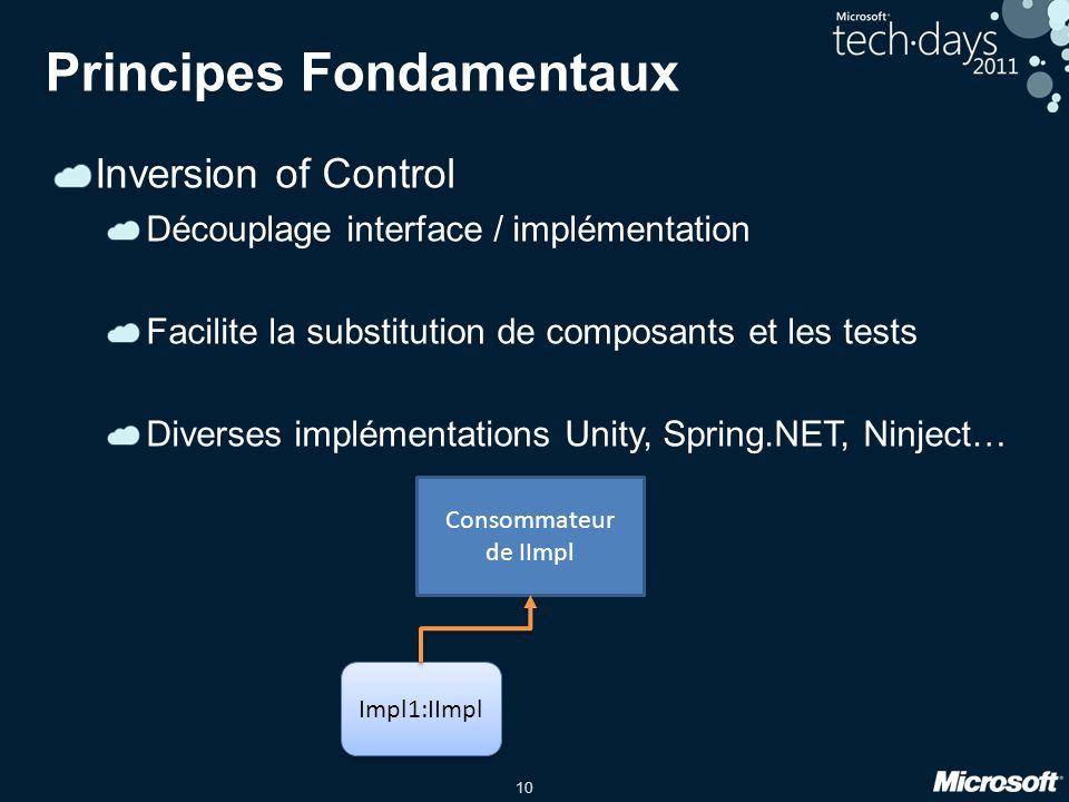 10 Principes Fondamentaux Inversion of Control Découplage interface / implémentation Facilite la substitution de composants et les tests Diverses impl