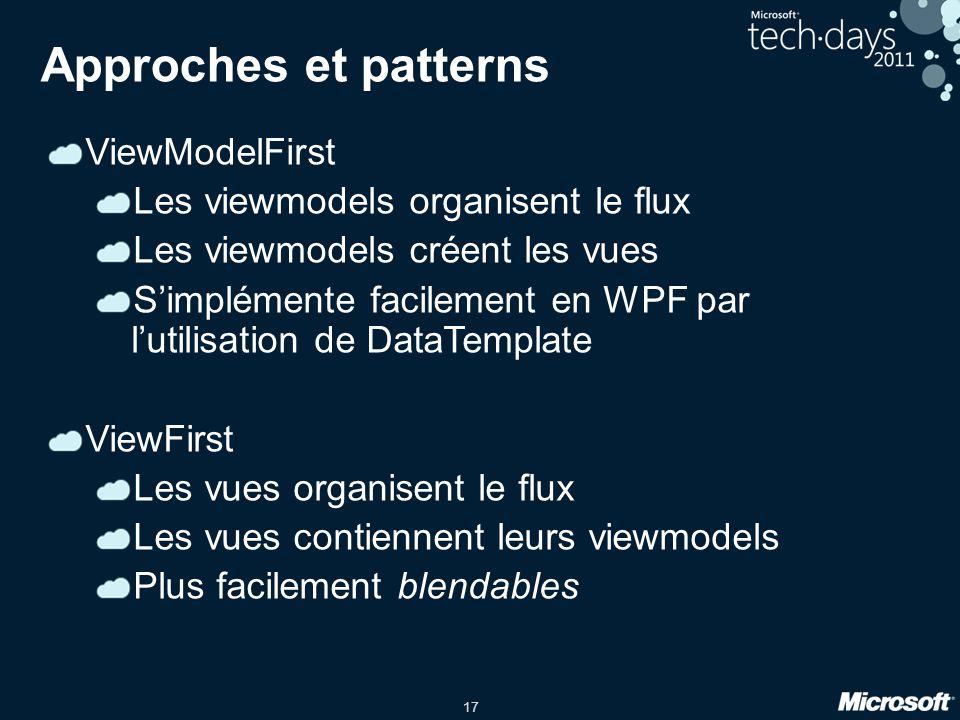 17 Approches et patterns ViewModelFirst Les viewmodels organisent le flux Les viewmodels créent les vues Simplémente facilement en WPF par lutilisatio