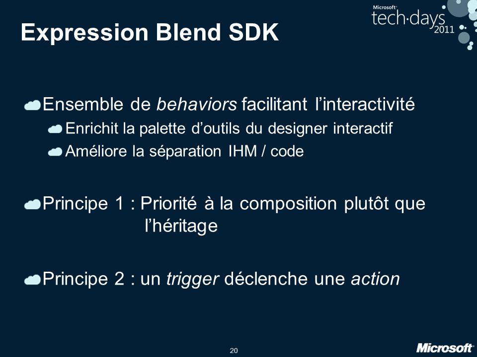 20 Expression Blend SDK Ensemble de behaviors facilitant linteractivité Enrichit la palette doutils du designer interactif Améliore la séparation IHM / code Principe 1 : Priorité à la composition plutôt que lhéritage Principe 2 : un trigger déclenche une action