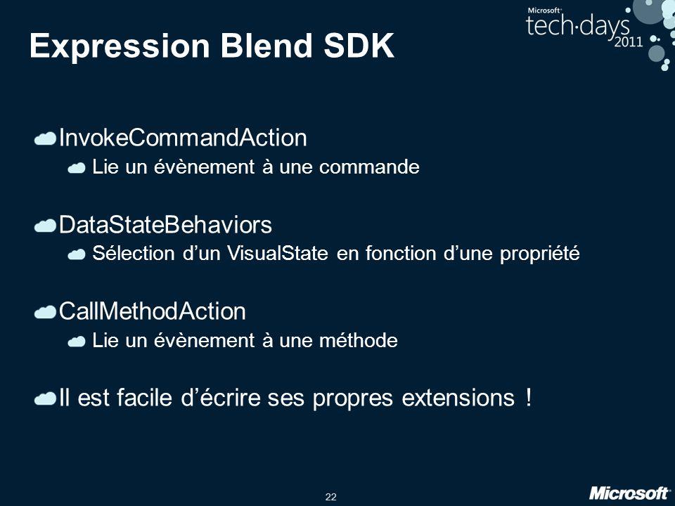 22 Expression Blend SDK InvokeCommandAction Lie un évènement à une commande DataStateBehaviors Sélection dun VisualState en fonction dune propriété Ca
