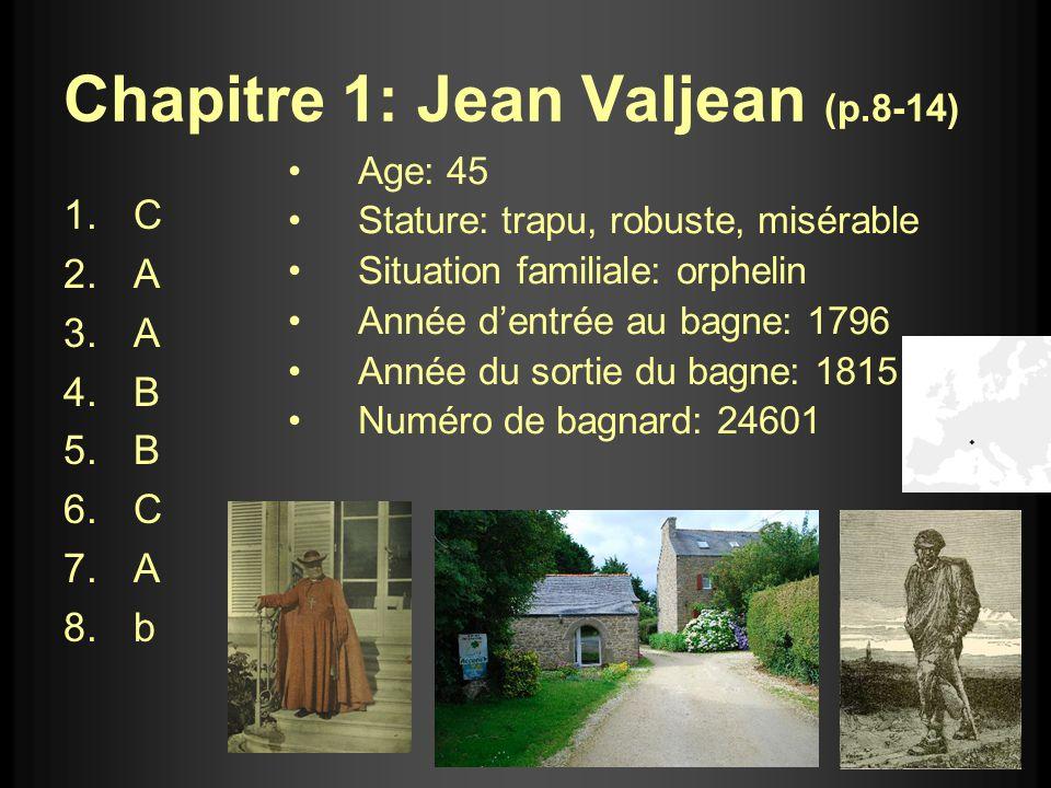Chapitre 1: Jean Valjean (p.8-14) 1.C 2.A 3.A 4.B 5.B 6.C 7.A 8.b Age: 45 Stature: trapu, robuste, misérable Situation familiale: orphelin Année dentr