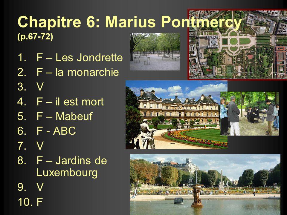 Chapitre 6: Marius Pontmercy (p.67-72) 1.F – Les Jondrette 2.F – la monarchie 3.V 4.F – il est mort 5.F – Mabeuf 6.F - ABC 7.V 8.F – Jardins de Luxemb