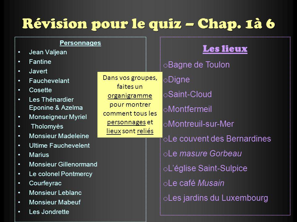 Révision pour le quiz – Chap. 1à 6 Personnages Jean Valjean Fantine Javert Fauchevelant Cosette Les Thénardier Eponine & Azelma Monseigneur Myriel Tho