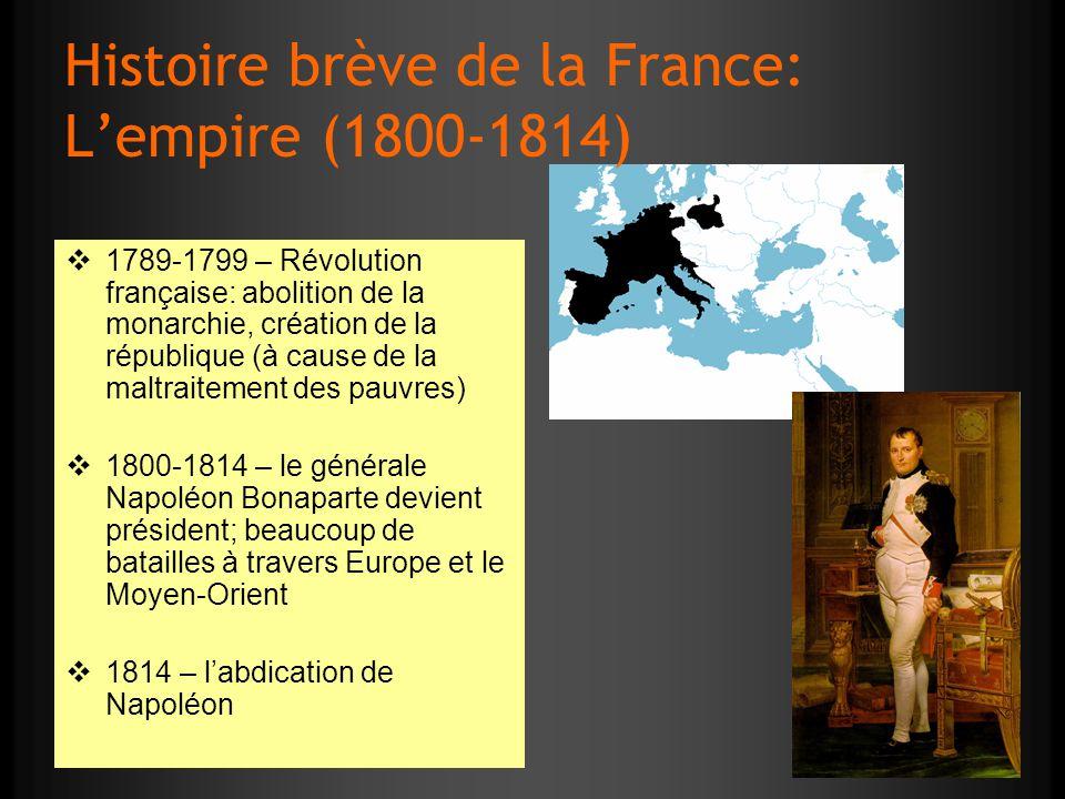 Histoire brève de la France: Lempire (1800-1814) 1789-1799 – Révolution française: abolition de la monarchie, création de la république (à cause de la