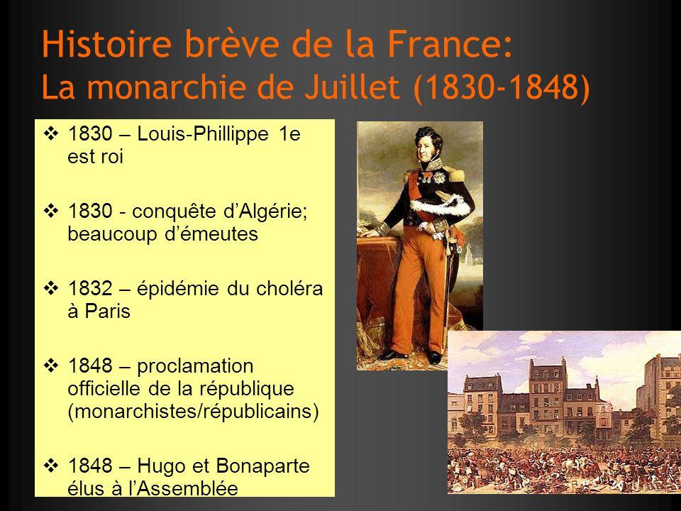 Histoire brève de la France: La monarchie de Juillet (1830-1848) 1830 – Louis-Phillippe 1e est roi 1830 - conquête dAlgérie; beaucoup démeutes 1832 –