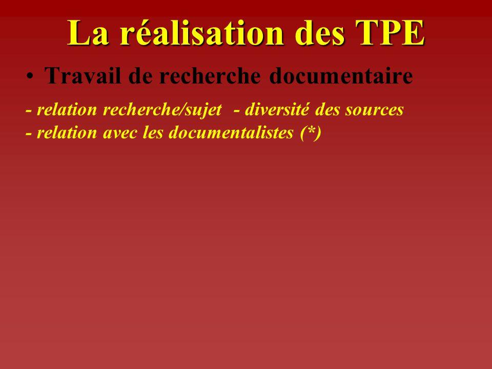 Le lancement des TPE Présentation aux élèves Définition des sujets par les élèves Constitution des groupes délèves (2 à 4) - l objet et le but des TPE
