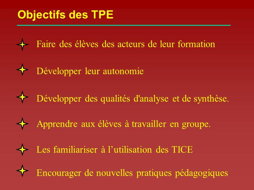 Objectifs des TPE Faire des élèves des acteurs de leur formation Développer leur autonomie Développer des qualités d analyse et de synthèse.