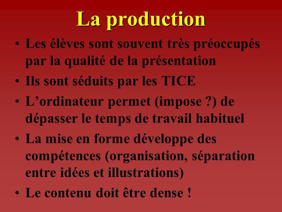 La réalisation des TPE Travail de recherche documentaire Suivi des élèves La production - relation recherche/sujet - diversité des sources - relation
