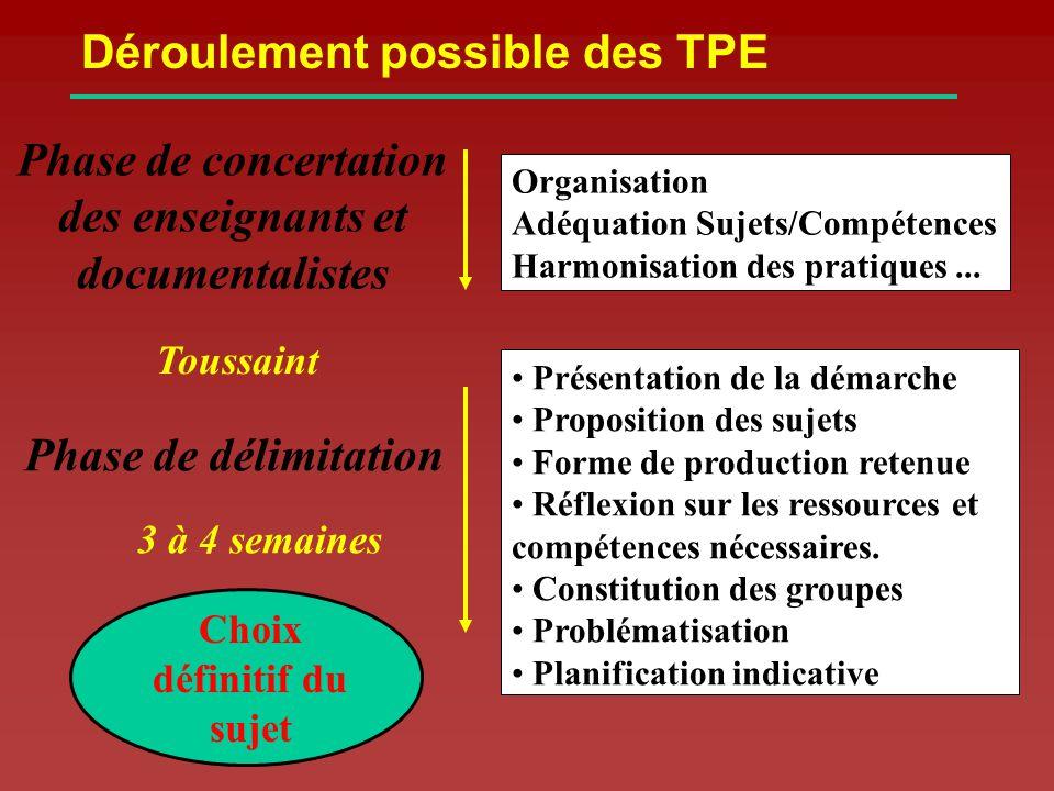 Présentation de la démarche Proposition des sujets Forme de production retenue Réflexion sur les ressources et compétences nécessaires.
