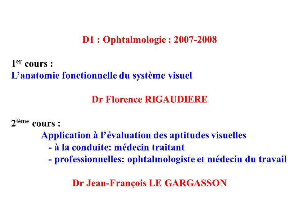 D1 : Ophtalmologie : 2007-2008 1 er cours : Lanatomie fonctionnelle du système visuel Dr Florence RIGAUDIERE 2 ième cours : Application à lévaluation des aptitudes visuelles - à la conduite: médecin traitant - professionnelles: ophtalmologiste et médecin du travail Dr Jean-François LE GARGASSON