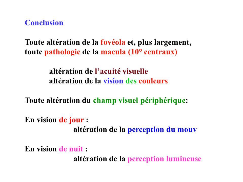 Conclusion Toute altération de la fovéola et, plus largement, toute pathologie de la macula (10° centraux) altération de lacuité visuelle altération de la vision des couleurs Toute altération du champ visuel périphérique: En vision de jour : altération de la perception du mouv En vision de nuit : altération de la perception lumineuse