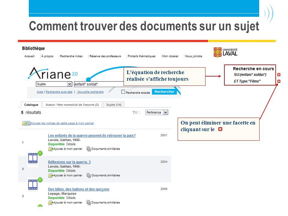 Bibliothèque de l Université Laval23 Comment trouver des documents sur un sujet Léquation de recherche réalisée saffiche toujours On peut éliminer une facette en cliquant sur le
