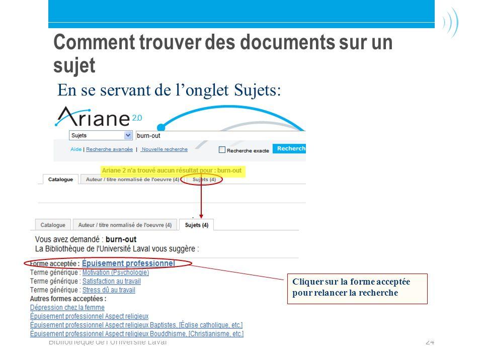 Bibliothèque de l Université Laval24 Comment trouver des documents sur un sujet Cliquer sur la forme acceptée pour relancer la recherche En se servant de longlet Sujets: