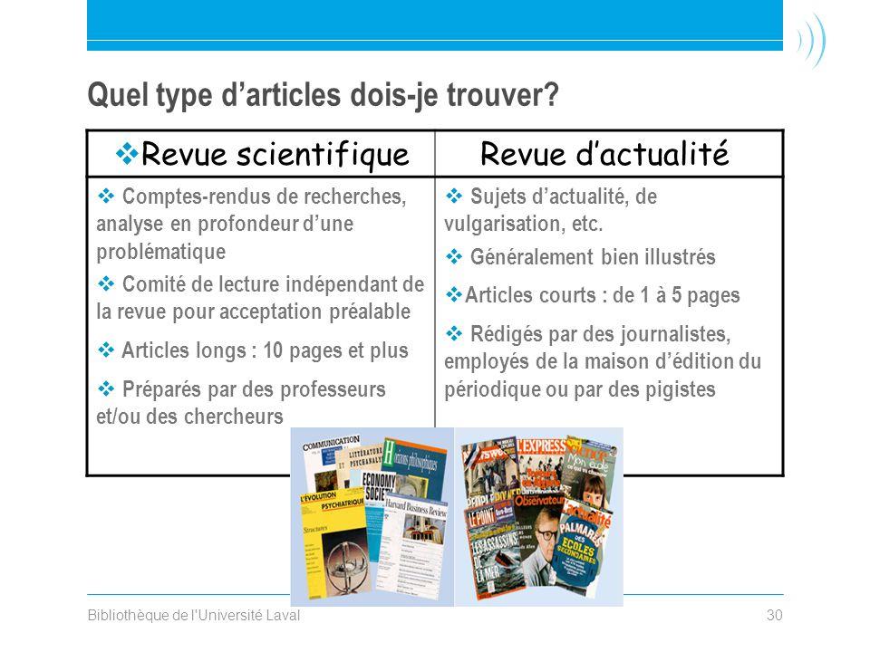 Bibliothèque de l'Université Laval30 Quel type darticles dois-je trouver? Revue scientifiqueRevue dactualité Comptes-rendus de recherches, analyse en