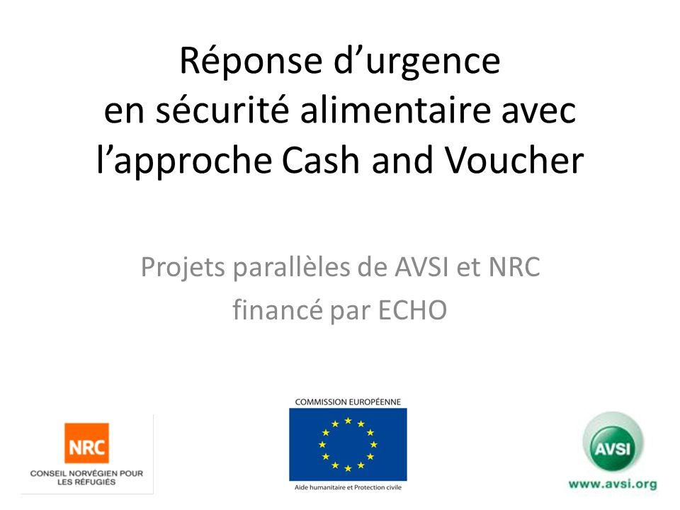 Réponse durgence en sécurité alimentaire avec lapproche Cash and Voucher Projets parallèles de AVSI et NRC financé par ECHO