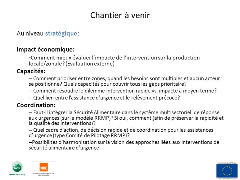 Au niveau stratégique: Impact économique: - Comment mieux évaluer limpacte de lintervention sur la production locale/zonale? (Evaluation externe) Capa