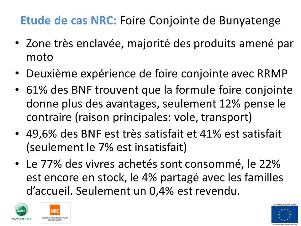 Zone très enclavée, majorité des produits amené par moto Deuxième expérience de foire conjointe avec RRMP 61% des BNF trouvent que la formule foire co