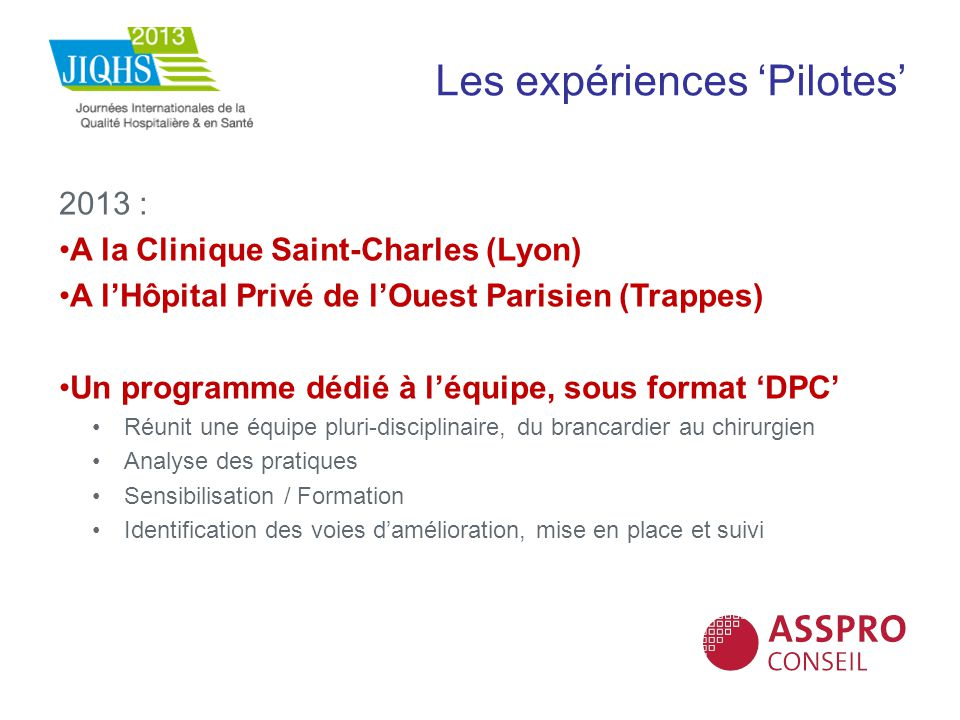 Les expériences Pilotes 2013 : A la Clinique Saint-Charles (Lyon) A lHôpital Privé de lOuest Parisien (Trappes) Un programme dédié à léquipe, sous for