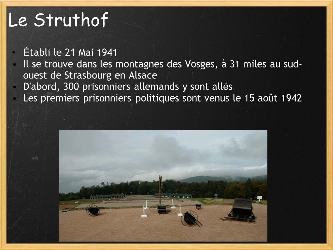 Le Struthof É tabli le 21 Mai 1941 Il se trouve dans les montagnes des Vosges, à 31 miles au sud- ouest de Strasbourg en Alsace D'abord, 300 prisonnie
