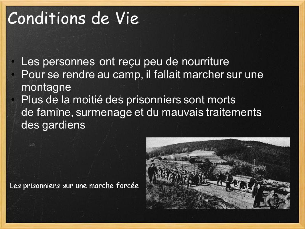 Conditions de Vie Les personnes ont r e çu peu de nourriture Pour se rendre au camp, il fallait marcher sur une montagne Plus de la moitié des prisonn