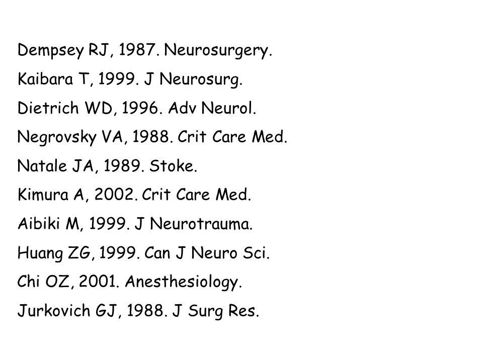 Dempsey RJ, 1987. Neurosurgery. Kaibara T, 1999. J Neurosurg. Dietrich WD, 1996. Adv Neurol. Negrovsky VA, 1988. Crit Care Med. Natale JA, 1989. Stoke