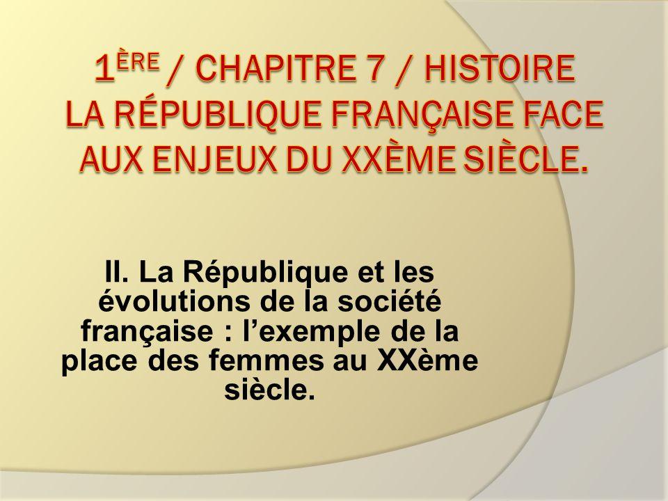 II. La République et les évolutions de la société française : lexemple de la place des femmes au XXème siècle.