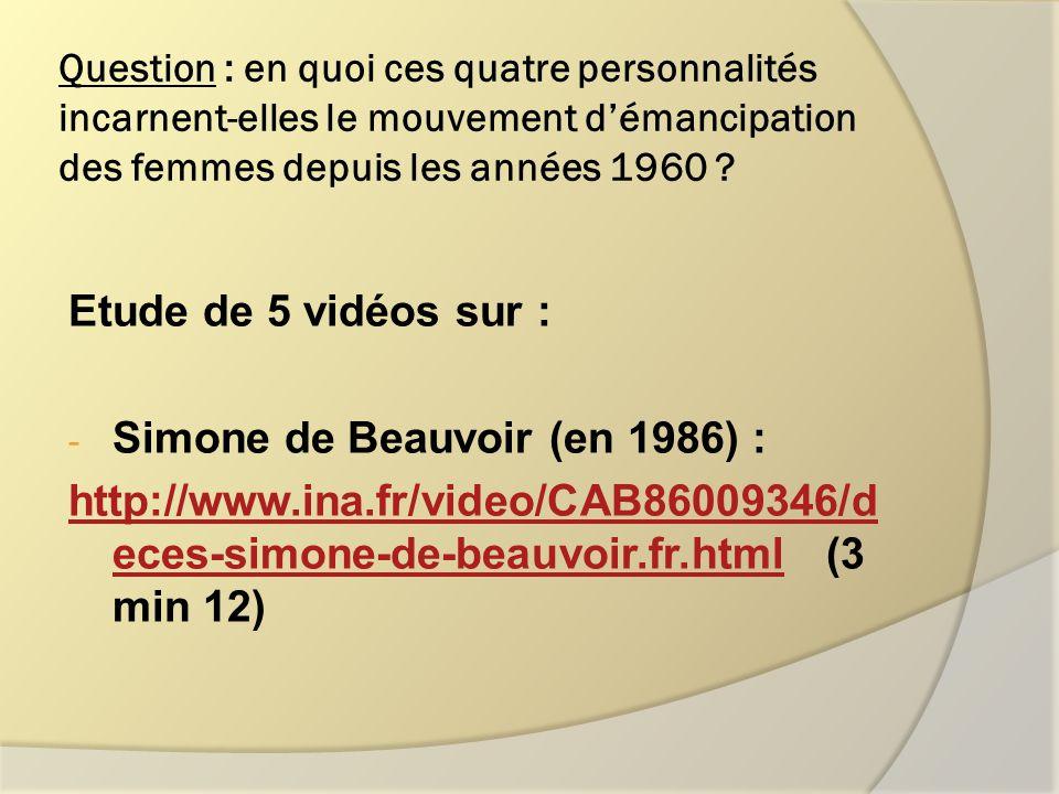 - Simone Veil : En 1974 : http://www.ina.fr/economie-et- societe/vie- sociale/video/I07169806/simone-veil-et- son-projet-de-loi-relatif-a-l-interruption- volontaire-de-grossesse.fr.html (2 min 14)http://www.ina.fr/economie-et- societe/vie- sociale/video/I07169806/simone-veil-et- son-projet-de-loi-relatif-a-l-interruption- volontaire-de-grossesse.fr.html En 1996 : http://www.ina.fr/video/I05006908/simone- veil-a-propos-de-la-parite-homme- femme.fr.html http://www.ina.fr/video/I05006908/simone- veil-a-propos-de-la-parite-homme- femme.fr.html (3 min 16)